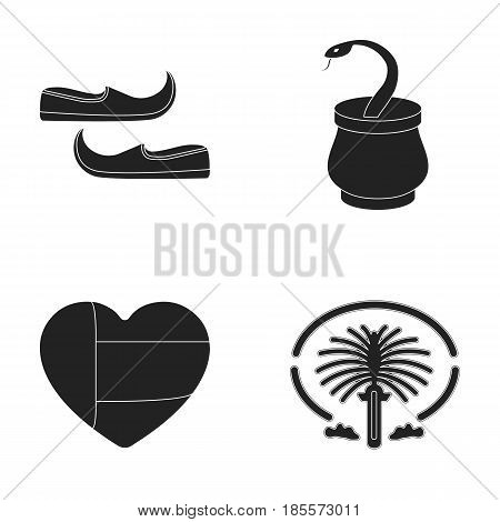 Eastern shoes, dagger, the heart of the emirates, Palm Jumeirah.Arab emirates set collection icons in black style vector symbol stock illustration .