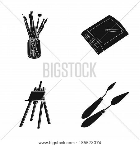 Bank with brushes, a drawing board, an easel with a canvas, paint knives.Artist and drawing set collection icons in black style vector symbol stock illustration .