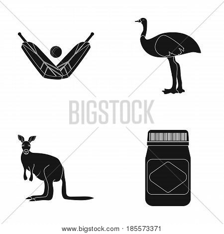 A game of cricket, an emu ostrich, a kangaroo, a popular food.Australia set collection icons in black style vector symbol stock illustration .