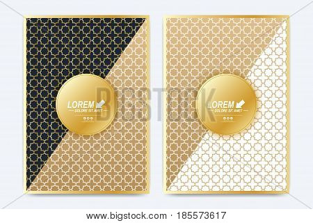 Modern vector template for brochure, Leaflet, flyer, advert, cover, magazine or annual report. A4 size. Islamic design book layout. Abstract golden presentation in islamic style