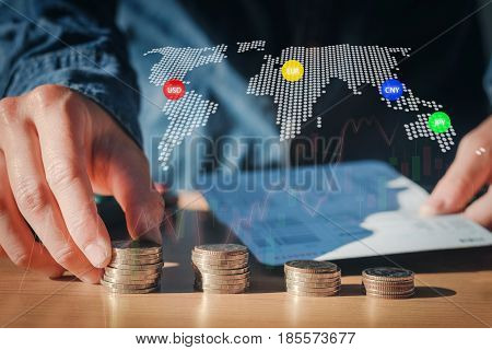 Economy, Finance, Stock Market Background. Economics Background With Abstract Stock Market Graph,fin