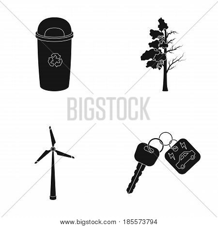 A garbage can, a diseased tree, a wind turbine, a key to a bio car.Bio and ecology set collection icons in black style vector symbol stock illustration .