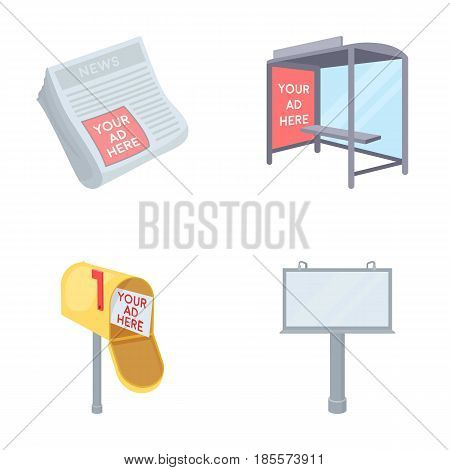Newspapers, a bus stop, a mail box, a billboard.Advertising, set collection icons in cartoon style vector symbol stock illustration .