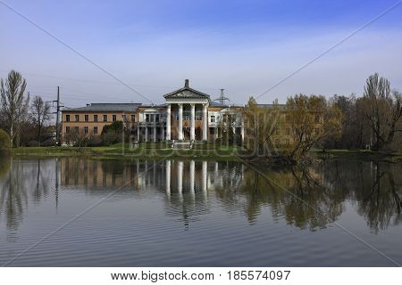 Moscow, Russia - April, 30, 2017: Facade of Ostankino estate in Moscow. This estate is in the territory of the Moscow Botanical garden