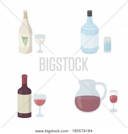 White wine, red wine, gin, sangria.Alcohol set collection icons in cartoon style vector symbol stock illustration .