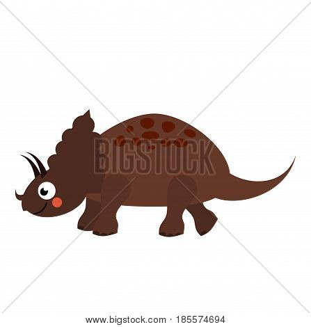 Cute dinosaur. Cartoon dino character. Triceratops. Isolated vector illustration for kids