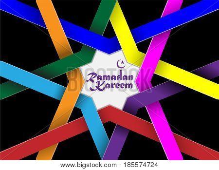 Ramadan Kareem, Arabic Islamic calligraphy on creative colorful abstract arabic geometric pattern background.
