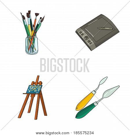 Bank with brushes, a drawing board, an easel with a canvas, paint knives.Artist and drawing set collection icons in cartoon style vector symbol stock illustration .