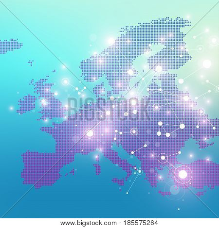 Dotted Europe Map. Geometric graphic background communication. Big data complex with compounds. Digital data visualization. Minimalistic chaotic design, vector illustration