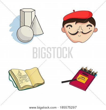 Geometric still life, a self-portrait of the artist, a notebook with drawings, a box of colored pencils.Artist and drawing set collection icons in cartoon style vector symbol stock illustration .