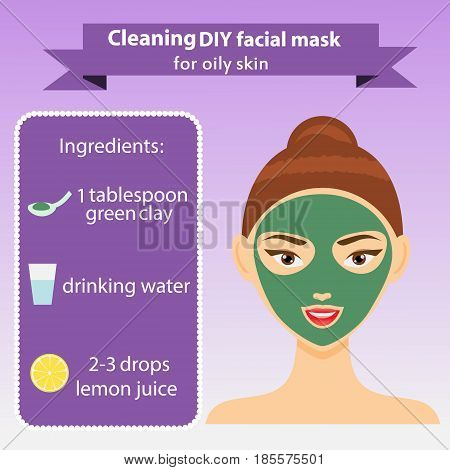 Young woman with facial mask. Vector illustration. Recipe of cleaning green clay mask for oily skin. Beauty infographics