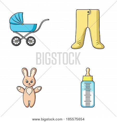 Stroller, bottle with a pacifier, toy, sliders.Baby born set collection icons in cartoon style vector symbol stock illustration .