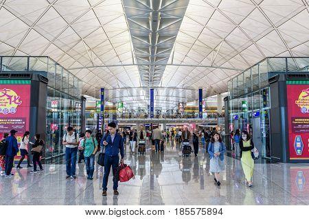 Hong Kong international airport, Hong Kong, September 2016 -:Hong Kong airport waiting hall