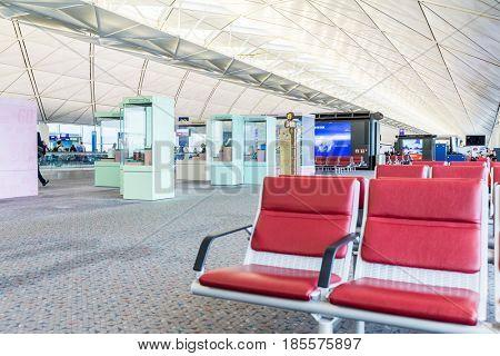 Hong Kong international airport, Hong Kong, September 2016 -: Waiting Hall at airport in Hong Kong