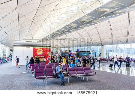 Hong Kong international airport, Hong Kong, September 2016 -: Departure hall in Hong Kong international airport