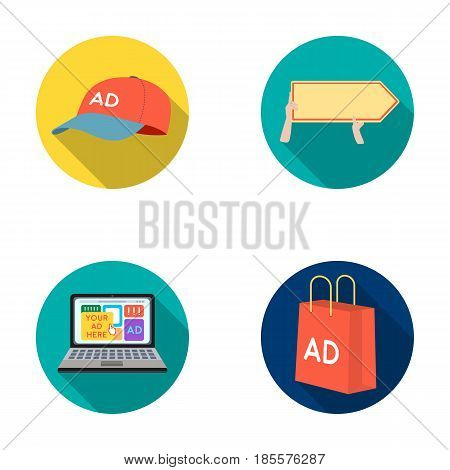 Baseball cap, pointer in hands, laptop, shopping bag.Advertising, set collection icons in flat style vector symbol stock illustration .