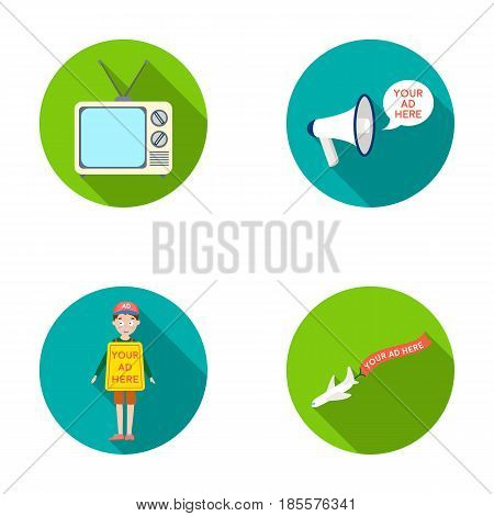 TV, megaphone, a man with a poster, an airplane with a banner.Advertising, set collection icons in flat style vector symbol stock illustration .