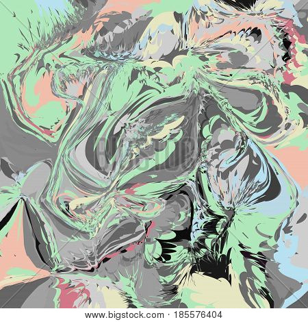 Abstract artistic fashion vector background with marbling effect. Invitation cover design template in grey green pink colors. Twisted color mix style liquid colors marble
