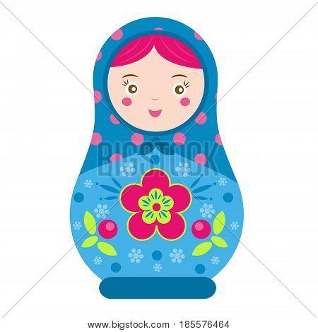 Matryoshka. Traditional russian nesting doll. Smiling Matreshka icon. Vector illustration