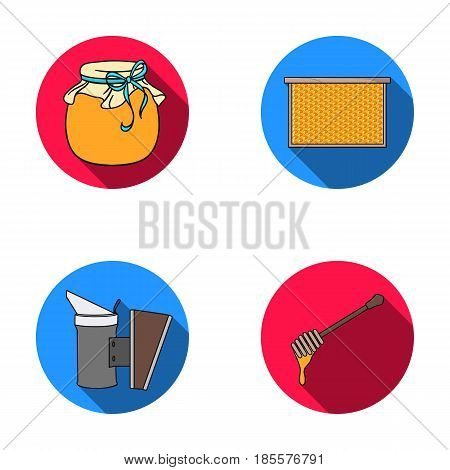 A frame with honeycombs, a ladle of honey, a fumigator from bees, a jar of honey.Apiary set collection icons in flat style vector symbol stock illustration .