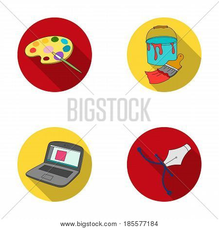 A palette with a brush, a bucket with a paint brush, a computer, a tool, a pen.Artist and drawing set collection icons in flat style vector symbol stock illustration .