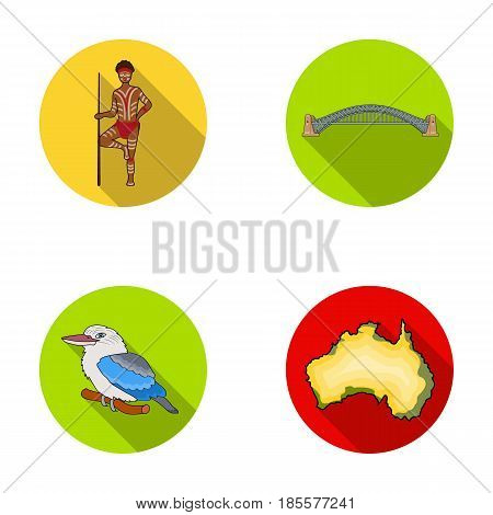Aborigine with a spear, Sydney Harbor Bridge, kookabarra on a branch, the territory of the country.Australia set collection icons in flat style vector symbol stock illustration .