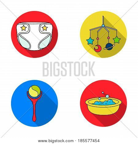 Children's diapers, a toy over the crib, a rattle, a children's bath.Baby born set collection icons in flat style vector symbol stock illustration .