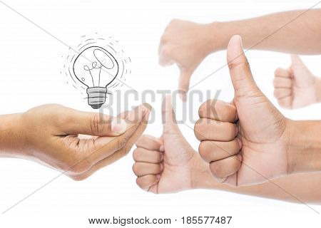 Businessman feedback concept. Like and dislike isolate on white background