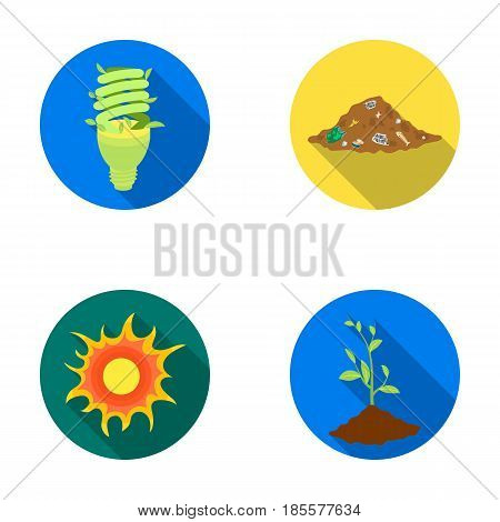 An ecological lamp, the sun, a garbage dump, a sprout from the earth.Bio and ecology set collection icons in flat style vector symbol stock illustration .
