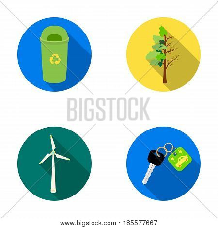A garbage can, a diseased tree, a wind turbine, a key to a bio car.Bio and ecology set collection icons in flat style vector symbol stock illustration .