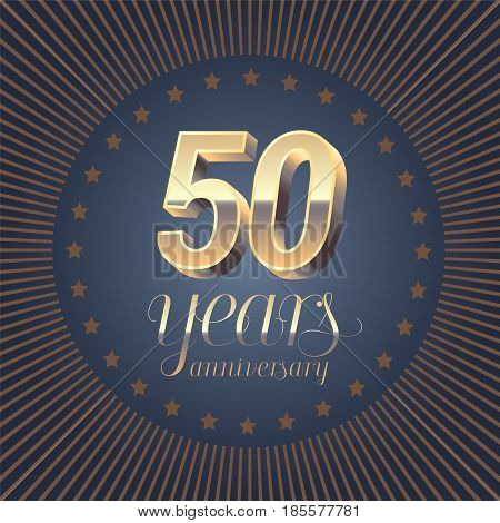 50 years anniversary vector logo. Decoration design element with medal and 3D number for 50th anniversary