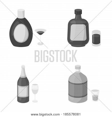 Liquor chocolate, champagne, absinthe, herbal liqueur.Alcohol set collection icons in monochrome style vector symbol stock illustration .