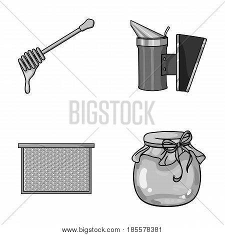 A frame with honeycombs, a ladle of honey, a fumigator from bees, a jar of honey.Apiary set collection icons in monochrome style vector symbol stock illustration .