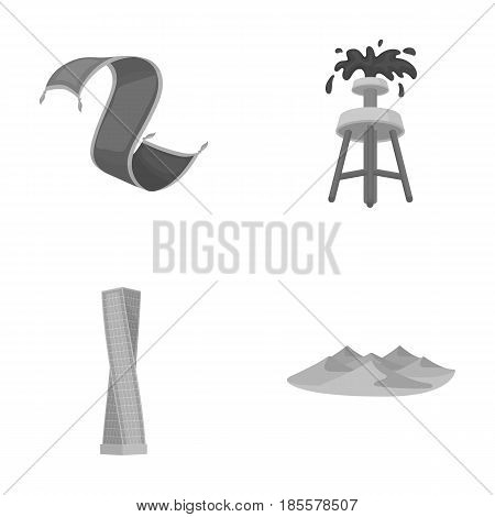 Persian carpet, dunes in the desert, Shanghai Tower, oil well.Arab emirates set collection icons in monochrome style vector symbol stock illustration .
