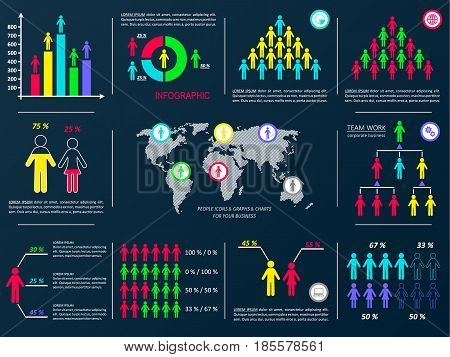 Vector business infographic design elements demographic black collection