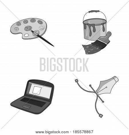A palette with a brush, a bucket with a paint brush, a computer, a tool, a pen.Artist and drawing set collection icons in monochrome style vector symbol stock illustration .