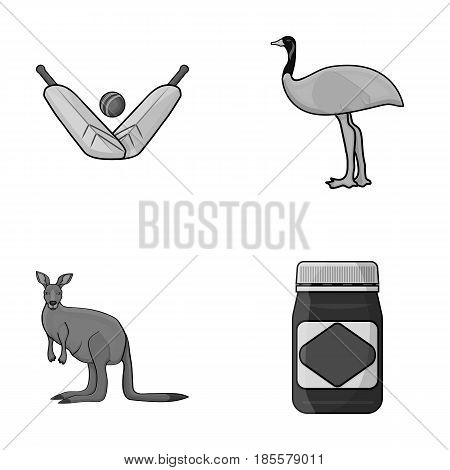 A game of cricket, an emu ostrich, a kangaroo, a popular food.Australia set collection icons in monochrome style vector symbol stock illustration .