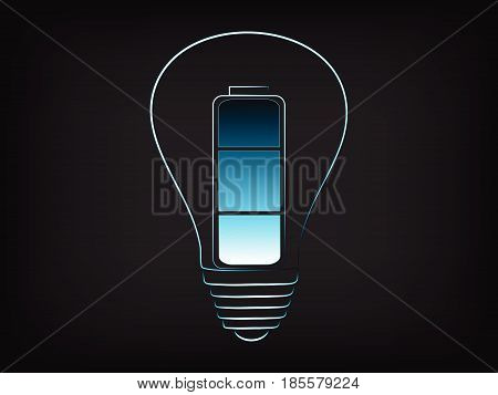 battery powering an idea (lightbulb) concept of innovation and energy (vector illustration on mesh background)