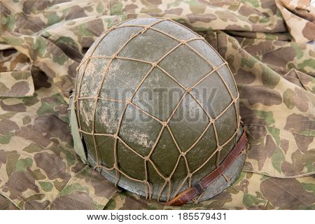 a US military helmet of the World War Two