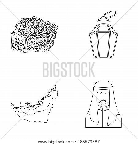 Eastern sweets, Ramadan lamp, Arab sheikh, territory.Arab emirates set collection icons in outline style vector symbol stock illustration .
