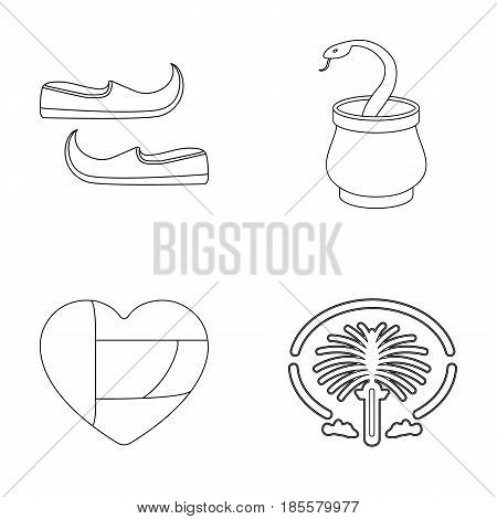 Eastern shoes, dagger, the heart of the emirates, Palm Jumeirah.Arab emirates set collection icons in outline style vector symbol stock illustration .