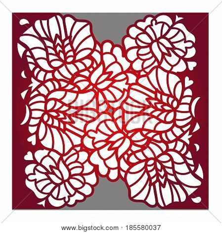 Laser cut flower pattern for decorative panel. Vector template ready for printing, postcards packets, wedding invitation, wood, engraving, paper, metal.