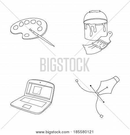 A palette with a brush, a bucket with a paint brush, a computer, a tool, a pen.Artist and drawing set collection icons in outline style vector symbol stock illustration .