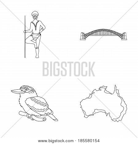 Aborigine with a spear, Sydney Harbor Bridge, kookabarra on a branch, the territory of the country.Australia set collection icons in outline style vector symbol stock illustration .