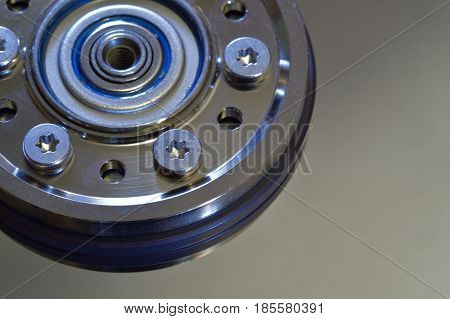 Closeup of Computer Hard Disk With Spindle Hub