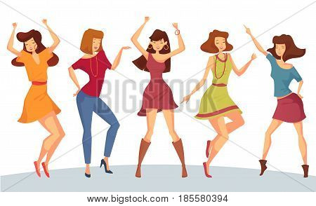 Dancing woman with raised hands and bracelet or chaplet on it, girl with necklace moving body on dance floor, lady in skirt at club party 1980 or eighties disco. People entertainment and music theme