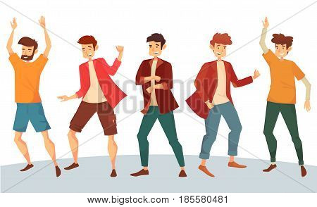 Set of dancing man with raised hands in jackets and t-shirts, pants or trousers. Male dancer moving body at music. After party and disco, night club and discotheque, dance floor entertainment theme