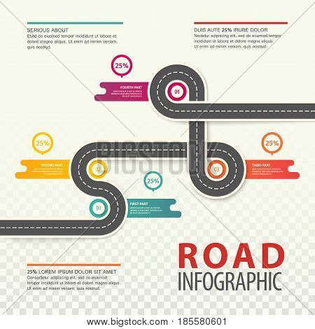 Road map infographics with round charts and section or parts timings. Top view on car asphalt highway with dotted line, traffic map with percentage background. Travel and trip, transport and path theme