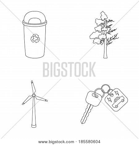 A garbage can, a diseased tree, a wind turbine, a key to a bio car.Bio and ecology set collection icons in outline style vector symbol stock illustration .