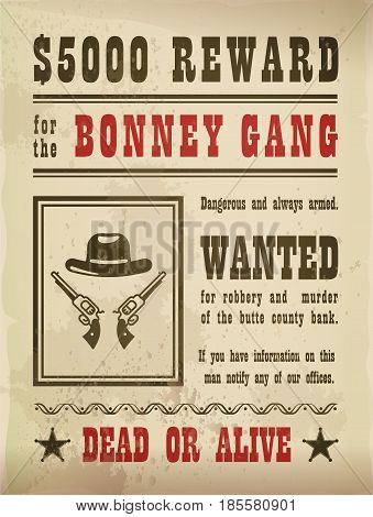 Wanted sign with guns and hat on old paper, reward or award parchment with pistols, revolvers. American blank torn poster with holes from gunshot. Bounty or wild west, western theme